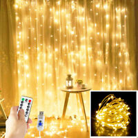 300 LED Fairy Hanging String Curtain Lights Lamps Xmas Wedding Party Home Decor