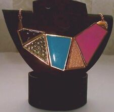 NECKLACE Pink Blue Black & Gold Tone ...The chain is 49cm long.....NEW