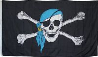 3x5 ft Jolly Roger Surfer Blue Hat Scarf Pirate Flag Knitted 3'x5' Banner