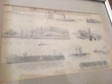 Antique Folk Art Pencil Drawing Fort Jackson War Relics El Sol Steam Ship