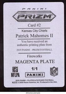 2019 Panini Prizm Fireworks Patrick Mahomes II Magenta Plate 1/1