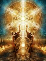 Framed Print - Cosmic Females in Flame Ring (Picture Poster Astrological Art)
