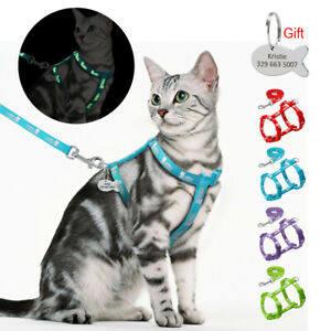 Reflective Cat Escape Proof Harness and Lead Personalised ID Name Tag Engraved