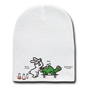 Using Force Funny Bunny Rabbit & Turtle Physics Humor Beanie Skull Cap Hat New