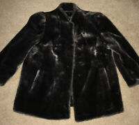 Vintage Luraseel Women Faux Fur Coat Gray Charcoal Jacket Kept Proper Storage