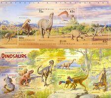 Australia-Dinosaurs-Prehistoric Animals-set of 2 min sheets mnh(1993 and 2015)