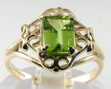 ENGLISH VICTORIAN 9K GRASS GREEN PERIDOT SOLITAIRE  RING FREE RESIZE