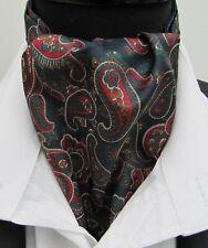 Mens Navy Green Red Paisley Design Satin Ascot Cravat & Pocket Square - UK Made