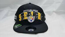 NEW ERA 9FIFTY SNAPBACK HAT.  NFL.  PITTSBURGH STEELERS.  BLACK.