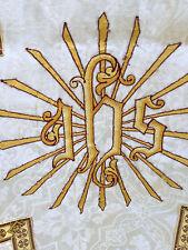 Chape Chasuble Liturgique Broderie Prêtre Aube Ancien 5