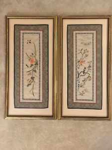 2 Chinese Embroidered Silk Robe Sleeve Panels Pair Framed Cuffs Vintage Qing