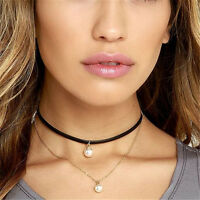 Women Doublelayer Velvet Chain Chocker Pearl Pendant Lady Girls Necklaces