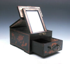 Vintage Black Finish Wood Dresser Mirror Drawer Dragon Phoenix Bat Brass Handle