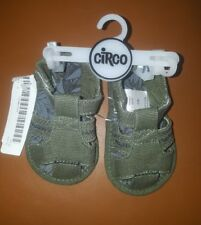 Circo 0-3 month green canvas hook and loop crib shoes nwt