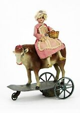 Antique French Bisque Milk Maid Doll and Cow Wind Up Mechanical Toy ca1900