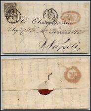 PONTIFICIO - 5 bai(6b) inchiostro grigio oleoso - Lettera Roma->Napoli 30.7.1855