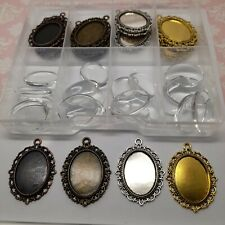 Box of Oval Cabochon Settings 5 each of 4 colours with 18x25mm glass domes