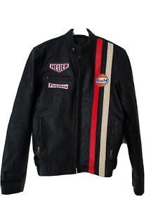 Mens Leather Motorcyle Jacket L 40-42 Chest Gulf Firestone Heuer Steve McQueen