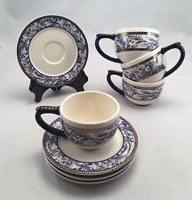 4 Espresso Cups Saucers by MUDPIE Cobalt Blue Floral w Gold Leaf Holds 4 ounces