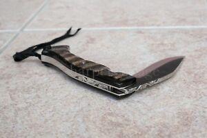 "Kukri Handmade Folding Knife Horn Scales Frame Lock Citadel 9.5"" OA Superb!"