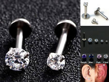 316L Steel Internal Thread Labrets Tragus Stud CZ Gem Monroe Lip Ear Earring 1pc