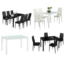 Ifferent Types Black/White 5/7 Piece Glass Dining Table Chairs Kitchen Furniture
