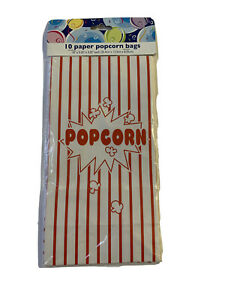 Paper Popcorn Bags 10ct Red And White NEW Carnival Party Birthday Movie Night