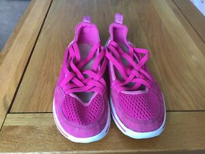CLARKS PINK SLIP ON TRAINER SHOES SIZE 4