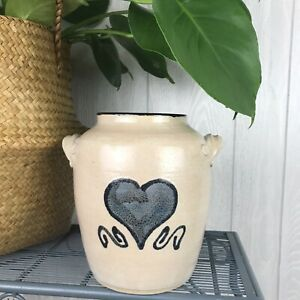 Mill Creek Pottery Alfie Stoneware Farmhouse Beige Blue Heart Handmade Signed