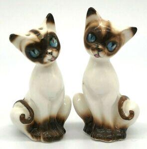 Vtg Japan Bone China White Siamese Cat Salt & Pepper Shakers