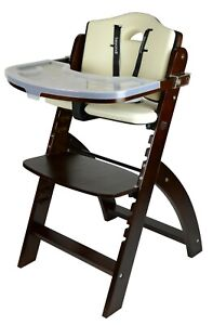 Abiie Beyond Wooden High Chair with Tray. (Mahogany Wood - Cream Cushion)
