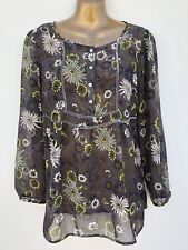 NWOT M&S Sheer Velvet Trim Boho Tunic Top Size 10 Floral Mink Mix Beach Cover Up