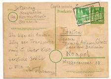 POSTKARTE GERMANY DEUTSCHLAND BAHNPOST NURNBERG BEBRA TO ITALIEN. L 977