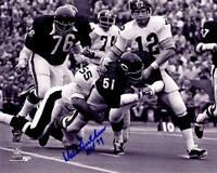 DICK BUTKUS Signed Bears Fumble vs Steelers B&W 8x10 Photo w/HOF 79 - SCHWARTZ