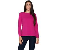 Denim & Co. Essentials Long Sleeve Crew Neck Knit Top Pink XL (1A25)