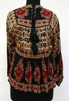 rayon black red floral hand block print women's collar neck long sleeve blouse