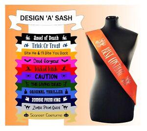 Halloween Custom Made Sash Sashes Fancy Dress Zombie Best Costume Trick or Treat
