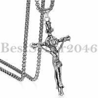 Herren Edelstahl Jesus Christus Auf INRI Kreuz Kruzifix Anhänger Kette Halskette