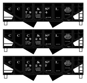 HO Accurail Kit 3-Pack CCC&StL Panel Side Twin Hoppers #28204 IC192