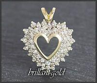 Diamant Herz Damen Anhänger mit 1,05 ct Brillanten, 10K Gold , Neu