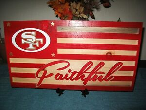 San Francisco 49ers Wood Flag, approx 20.5 X 11 inches Handmade