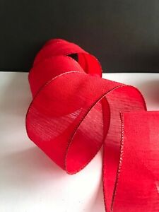 Wire - Edged Ribbon 6.3cm / 2.5 in  RED