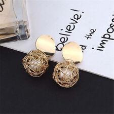 Fashion Charm Gold Plated Round Pearl Dangle Drop Earrings Stud Women Jewelry