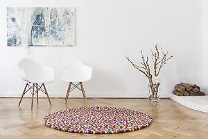 myfelt Lotte 140 cm Design Teppich 100% Wolle Filzkugelteppich Kinderteppich