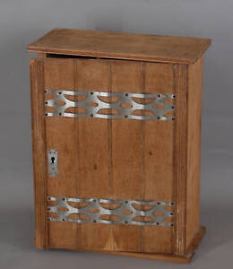 99865146 Small Wall Cabinet Um 1920 Light Oak Solid