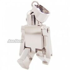 "Silver Robot Stainless Steel Pendant with 21"" Chain Necklace"