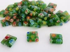 40 pce Vibrant Green  Flat Square Millefiori Glass Beads 10mm Jewellery Making