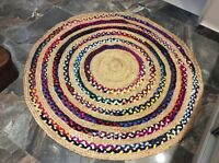 MULTI COLOUR ROUND Braided Natural JUTE & Recycled Cotton Reversible 150cm Diam.