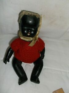 """Antique black Composition Doll jointed arms,head,legs  9"""""""