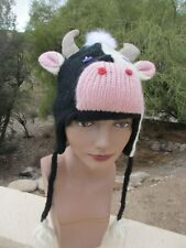 Knitwits Originals deLux COW HAT knit ADULT toque Fleece LINED costume unisex